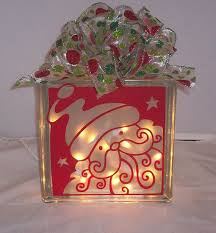 christmas decorated glass block santa face