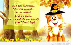 happy thanksgiving teddy wishes image