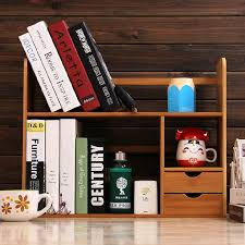 Small Desk Bookshelf Usd 70 21 Bamboo Desktop Bookshelves Office Desk Storage Small