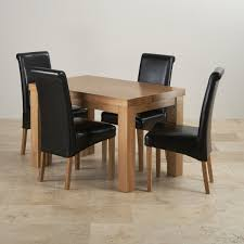 Chunky Ft Solid Oak Dining Table  Black Leather Scroll Chairs - Black dining table for 4