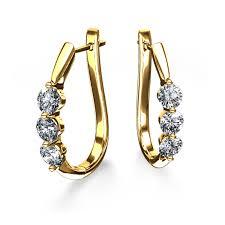 yellow gold earrings 2 ctw three diamond hinged hoop earrings in 14k yellow gold