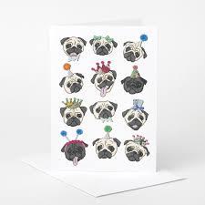 pug card pug birthday card pug love card dog celebration