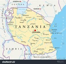 Lake Victoria Map Tanzania Political Map Political Map Tanzania Stock Vector