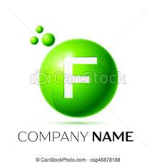 f letter splash logo green dots and circle bubble letter