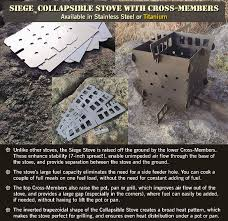 cook siege siege collapsible stove flat pack in titanium or stainless steel
