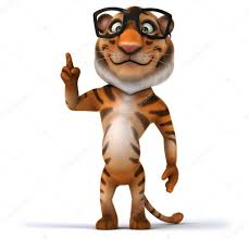 cartoon tiger in glasses u2014 stock photo julos 61351433