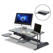 homcom adjustable desktop riser preassembled sit stand elevating