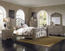 Grey Wood Bedroom Furniture Standard Furniture Timber Creek Queen Bed With Scrolled Metal