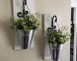 Wall Sconces For Flowers Galvanized Metal Hanging Planter With Greenery Or Flowers