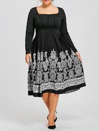 dresses black 5xl plus size long sleeve paisley midi dress gamiss