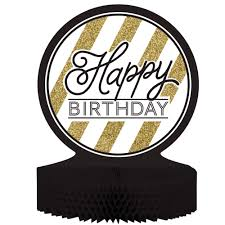Centerpieces 50th Birthday Party by Black U0026 Gold Happy Birthday Honeycomb Centerpiece Case Of 6