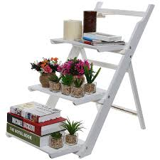 amazon com 3 tier fold out rustic garden white washed finish