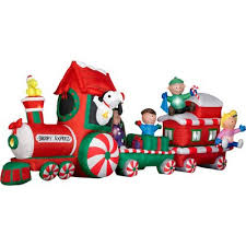 peanuts airblown inflatables peanuts snoopy express 13 wide animated christmas airblown