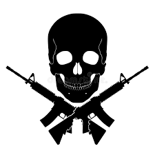 skull with crossed guns stock illustration illustration of graphic