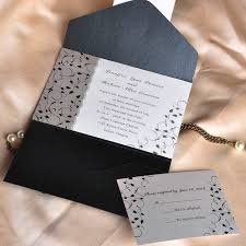 affordable pocket wedding invitations affordable black and white pocket wedding invitation cards ewpi025