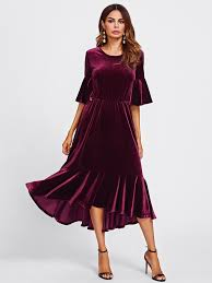 velvet dress trumpet sleeve flounce hem velvet dress emmacloth women fast