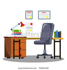 Office Table Lamp Home Office Desk Casters Chair Laptop Stock Vector 394822048