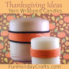 thanksgiving decorating ideas yarn wrapped candles