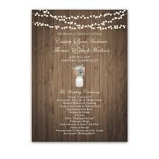 jar wedding programs rustic jar wildflowers custom wedding program