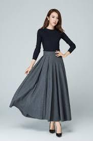 Wool Skirts For Winter Grey Skirt Long Skirt Wool Skirt Pleated Skirt Ladies Skirts