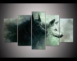 limited edition wolf yin yang 5 canvas painting dharma vibes