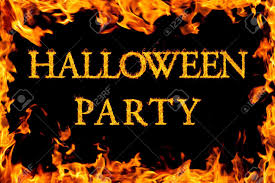 halloween party borders halloween party in fire frame stock photo picture and royalty