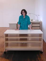 Rolling Drafting Table Art Studio Rolling Work Table With Adjustable Large Art Storage