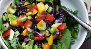 luscious lemon olive oil dressing over rainbow salad