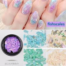 new shell flakes nail decorations fish scales 3d
