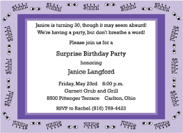 shhh purple surprise 30th birthday invitation