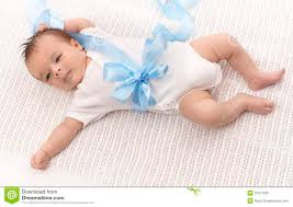baby ribbon baby boy in bodysuit and blue ribbon stock image image of lying