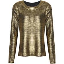 metallic gold blouse womens shiny gold foil metallic print sleeve knitted ju