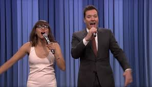jimmy fallon and rashida jones give and rihanna songs