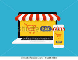 Awning Online Concept Online Shopping Computer Smartphone Awning Stock Vector