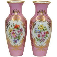 Chinese Hand Painted Porcelain Vases Large Pair Antique Kpm Vases Pink W Hand Painted Florals