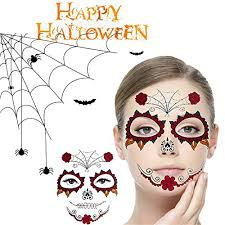 halloween temporary face tattoos wenmei skull scar spider blood