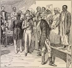 groups of slave owners at an auction house preparing for an
