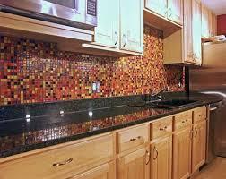 Red And Black Kitchen Tiles - kitchen black granite with red yellow tile backsplash idea decor