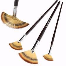 fan brush oil painting 3 pcs fan brush pen wooden handle oil painting acrylic watercolor