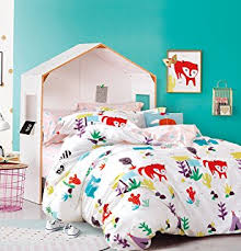 Full Duvet Cover Dimensions Amazon Com Cliab Fox Bedding Woodland Bed Sheets Full Size Kids