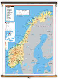 Map Of Norway Norway Physical Educational Wall Map From Academia Maps