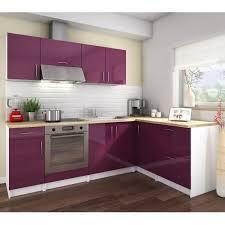 cdiscount cuisine cosy cuisine complète l 2m80 aubergine laqué achat vente