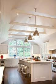 vaulted ceiling beams classic white kitchen w cathedral ceiling kitchen design