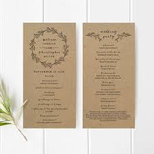 wedding programs rustic printable wedding program template kraft paper ceremony program