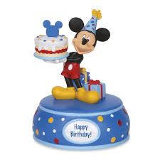 mickey mouse with birthday cake musical figurine by disney
