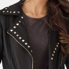 biker coat womens sally mae studded black leather biker jacket
