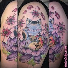 tattoo cat neko cute illustrative style colored shoulder tattoo of maneki neko