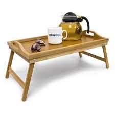 plateau canapé relaxdays plateau de lit pliable en bambou table d appoint pliante