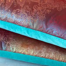 peacock turquoise purple peacock kimono cushion turquoise velvet upcycled
