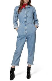 blue mechanic jumpsuit lyst topshop mechanic denim jumpsuit in blue